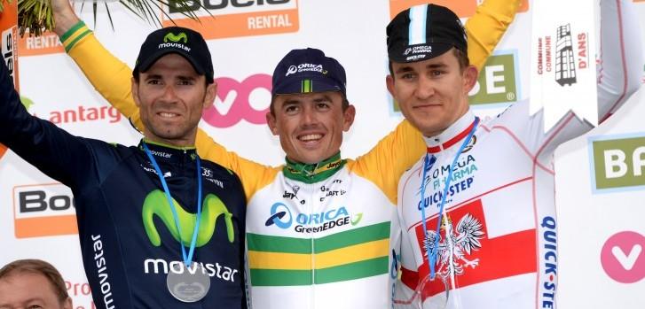 Het podium van 2014: Winnaar Simon Gerrans geflankeerd door Alejandro Valverde en Michal Kwiatkowski - Foto: Sirotti
