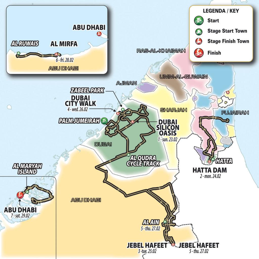 UAE Tour wijzigt parcours: twee aankomsten op Jebel Hafeet